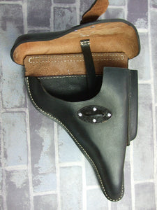 WW2 German P38 Hard Shell Holster Black Leather