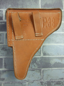 WW2 German P38 Hard Shell Holster Brown Leather