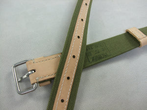 WWII Russia Red Army EM Webbing Belt Green Canvas Tan Leather