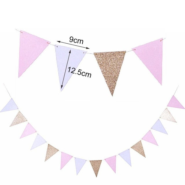 3M Gold Pink White Flag Banner Glitter Paper Pennant Bunting Garland for Christmas Wedding Birthday Party Nurser Decorations