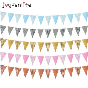 12 Flags Rose Gold Garlands Birthday Bunting Banners Pennant Baby Shower Wedding Garland Flags Party Decoration Supplies