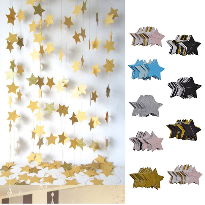 2 Meters Paper Garland Star Shape String Banners Colorful Hanging Paper Bunting Birthday Wedding Party Home DIY Decoration