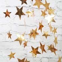 Load image into Gallery viewer, 4M Bright Gold Silver Paper Garland Star String Banners Wedding Banner For Party Home Wall Hanging Decoration baby shower favors
