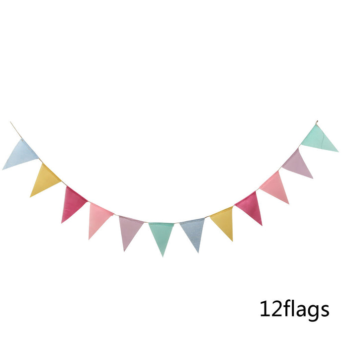 12 Flags - 4M Colorful Banners Birthday Party Baby Shower Garland Tent Decoration Wedding Bunting Decor Baby Shower Favor