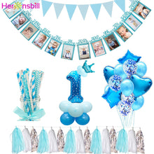Load image into Gallery viewer, Heronsbill 12 Months Photo Frame Banner First Birthday Decorations 1st Baby Boy Girl My 1 One Year Party Supplies Gold Pink Blue