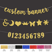 Load image into Gallery viewer, Hot selling Personalized wedding Name Banner Custom script letters silver/gold glitter banners birthday party decor DIY sign
