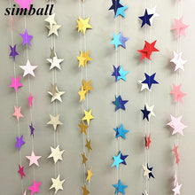 Load image into Gallery viewer, 4M Paper Garland Star Shape String Banners Baby Shower Girls Bunting Hanging Paper Happy Birthday Wedding Party Home Decoration