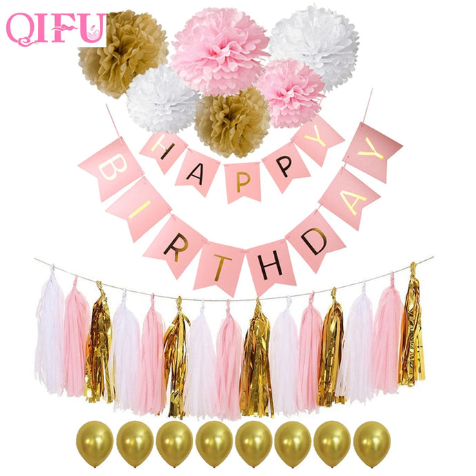 QIFU Happy Birthday Banner Baby First Birthday Boy Girl Party Happy Birthday Decor Garland 1st Birthday Streamer Babyshower