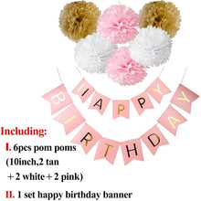 Load image into Gallery viewer, QIFU Happy Birthday Banner Baby First Birthday Boy Girl Party Happy Birthday Decor Garland 1st Birthday Streamer Babyshower