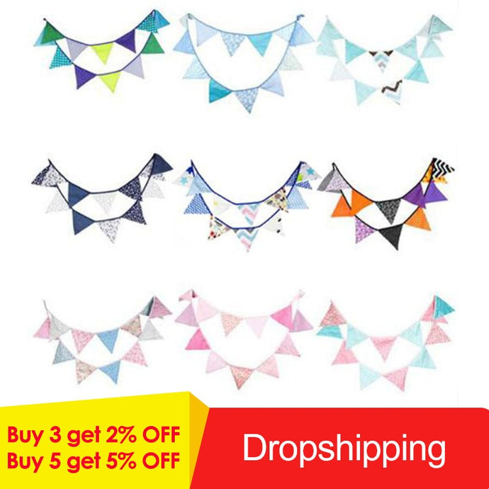 12 Flags 3.2m Blue Garlands for Birthday Cotton Bunting Banners Pennant Baby Shower Wedding Garland Flags for Party Decoration