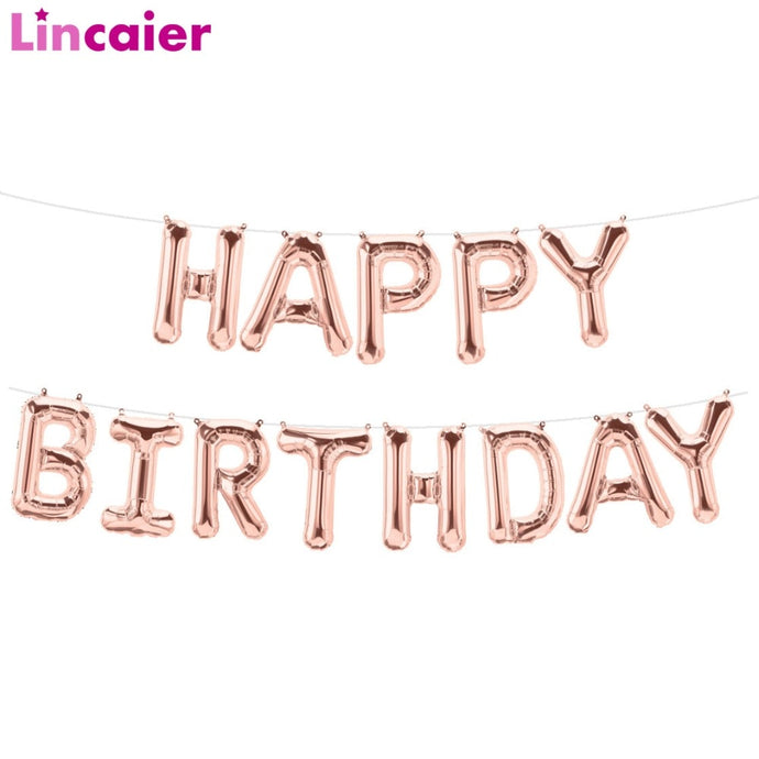 Lincaier 16 inch Happy Birthday Foil Balloons Baby Boy Girl First Birthday 1st One Party Decoration Garland Kids Adult Unicorn