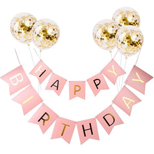 Pink HAPPY BIRTHDAY Letter Banner gold confetti balloon Birthday Party Supplies Boy girl kids favor birthday decoration