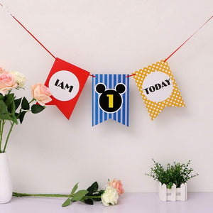 Kuchang 1st Birthday I Am One Kraft Paper Banner Baby Boy Girl Crown Hat 1st Party Decor Star Pendant Garland Bunting Supplies