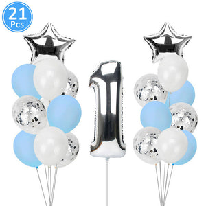 First Happy Birthday Blue Balloon Banner My 1st 1 One Year Party Decorations Kids Baby Boy Girl Adult Garland Supplies Rose Gold