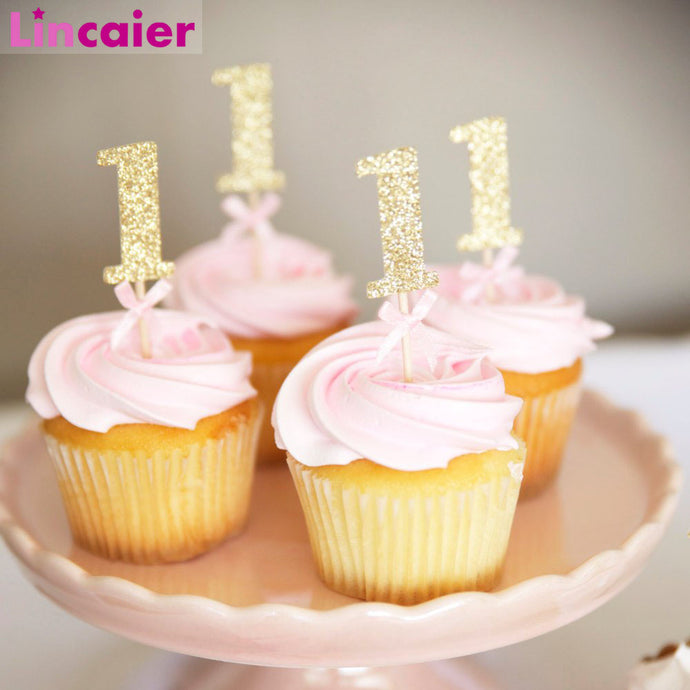 10/6Pcs Glitter Paper 1 Cupcake Toppers First Birthday Party Decorations 1st Birthday My One Year Baby Boy Girl Supplies