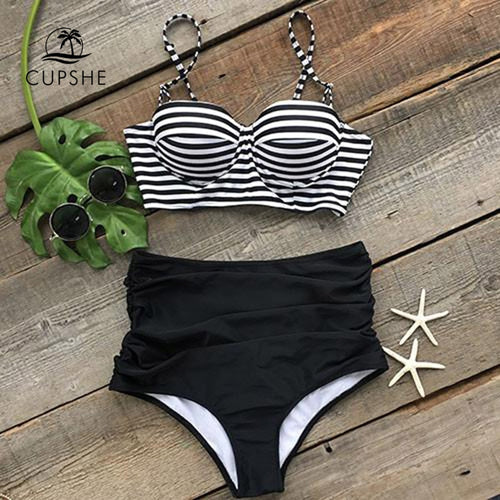 a8fb6bdde72 CUPSHE All About U Stripe High-waisted Bikini Set Women Push Up Two Pieces  Swimwear