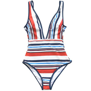 04da78e6952 CUPSHE Colorful Stripe Plunging One-Piece Swimsuit Women Backless Monokini Bathing  Suit 2019 Girl Sexy