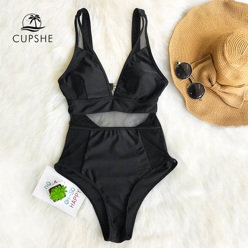 5b036cb2541 CUPSHE Sexy Black Mesh One-piece Swimsuit Women Solid V-neck Hollow Out  Monokini