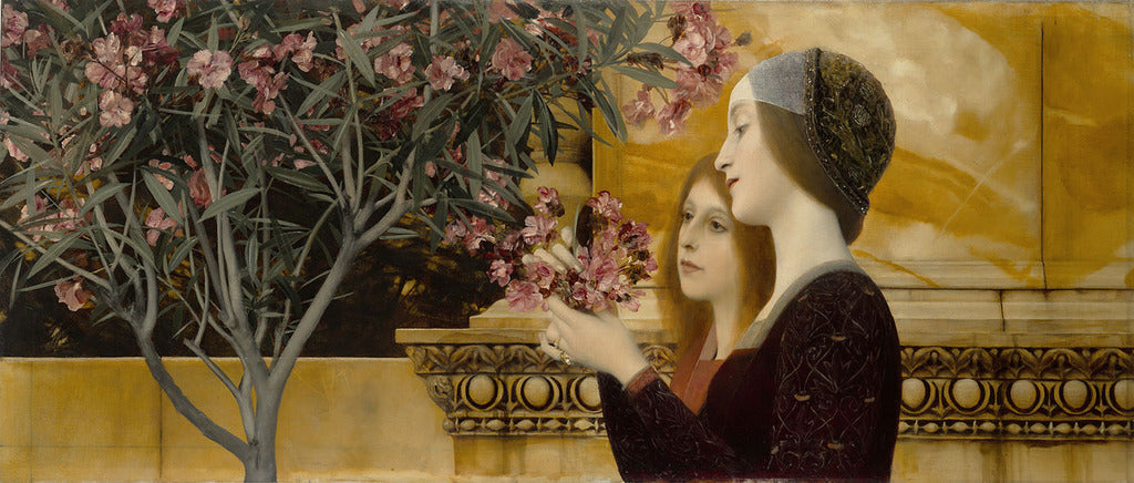 Klimt: Two Girls With Oleander Print