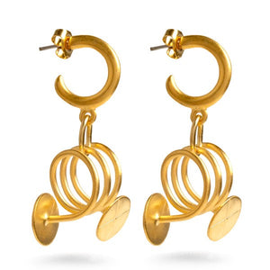 Geometric Gold Finial Earrings