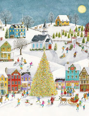 Winter Village Scene Boxed Christmas Cards