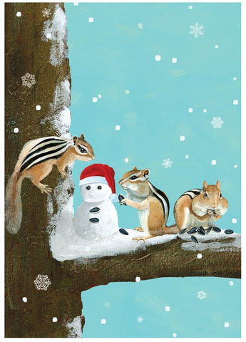 Three Chipmunks Boxed Holiday Cards