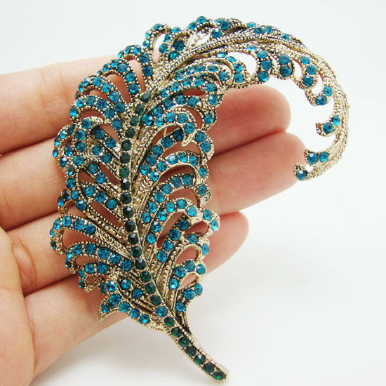 Blue Peacock Feathers Gold Tone Brooch