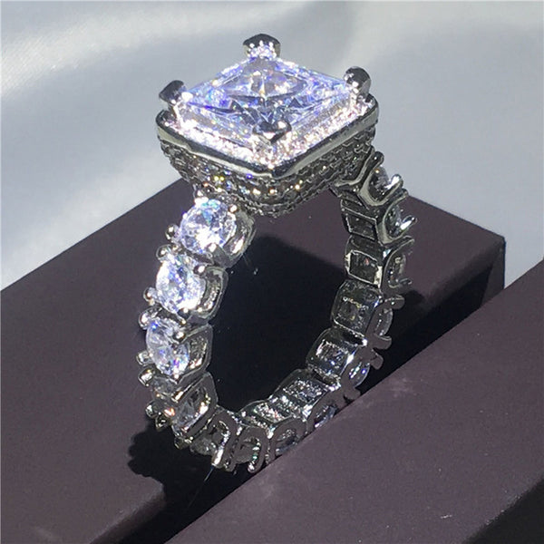 Vintage ring Pave setting 5A zircon Cz 925 Sterling silver Engagement Wedding Band Rings
