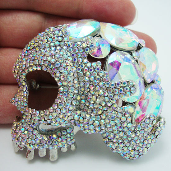 White Color Eye Skull Crystal Rhinestone Brooch