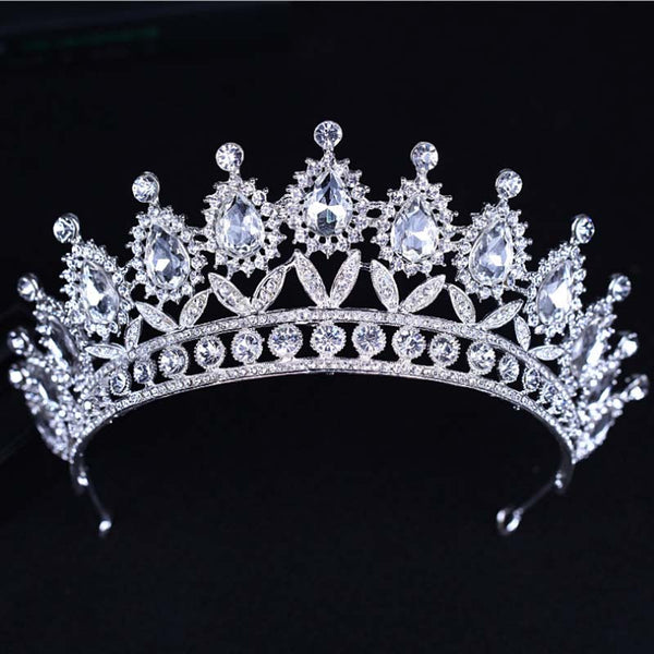 Baroque Big Rhinestone Crystal Beaded Headband Tiara