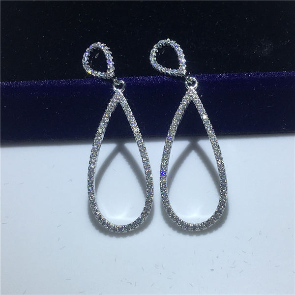 Water Shape Drop 925 sterling silver Dangle Earrings