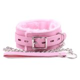 Fluffy Pink Leather Collar With Leash