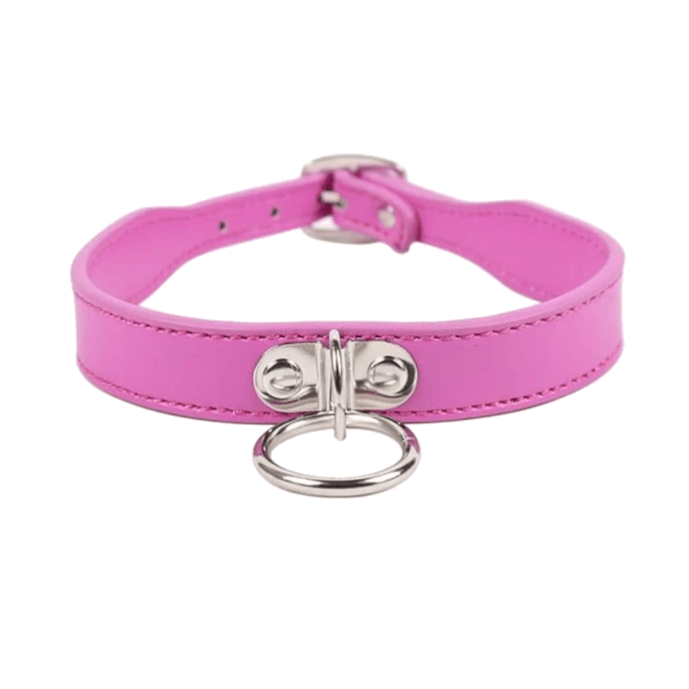 Simply Seductive Leather Collar With Leash Ring