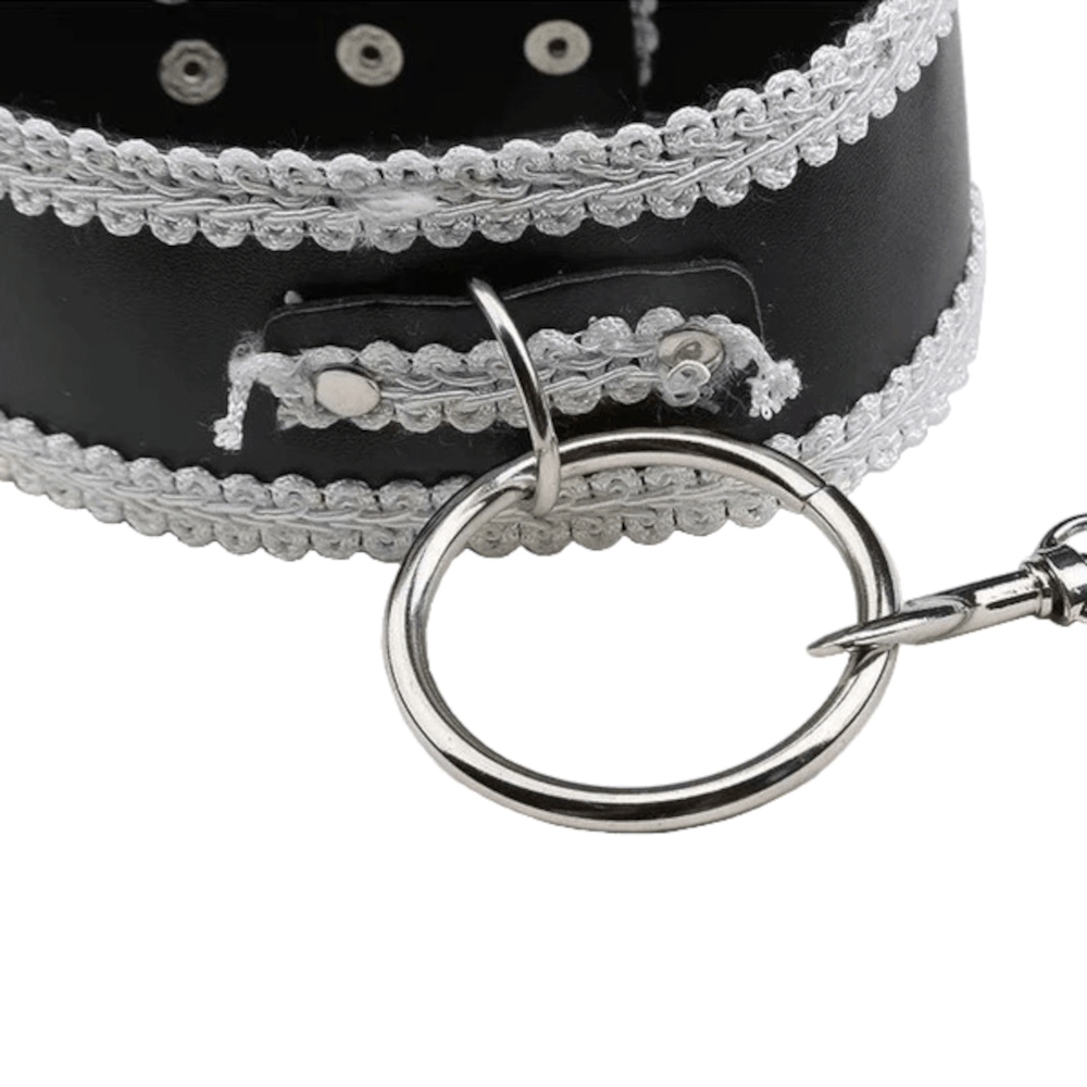 Master's Property Laced Leather Collar With Leash