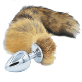 "17"" Brown Fox Tail 3 Stainless steel plug sizes available"