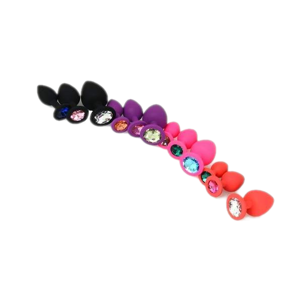 Random Color Jeweled Silicone Princess Plug