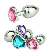"10 Colors Jeweled 3"" Heart-shaped Metal Plug"