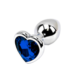 Dark Blue Heart-shaped Stainless Steel Plug, Large