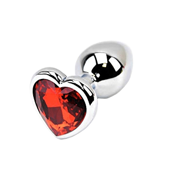 Red Heart-shaped Stainless Steel Plug, Large