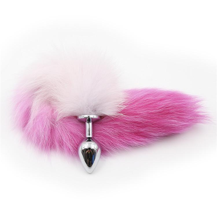 White with Pink Cat Tail 3 sizes Stainless Steel Plug