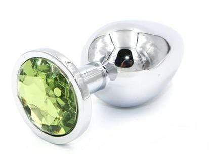 Light Green Jeweled Stainless Steel Plug, Medium