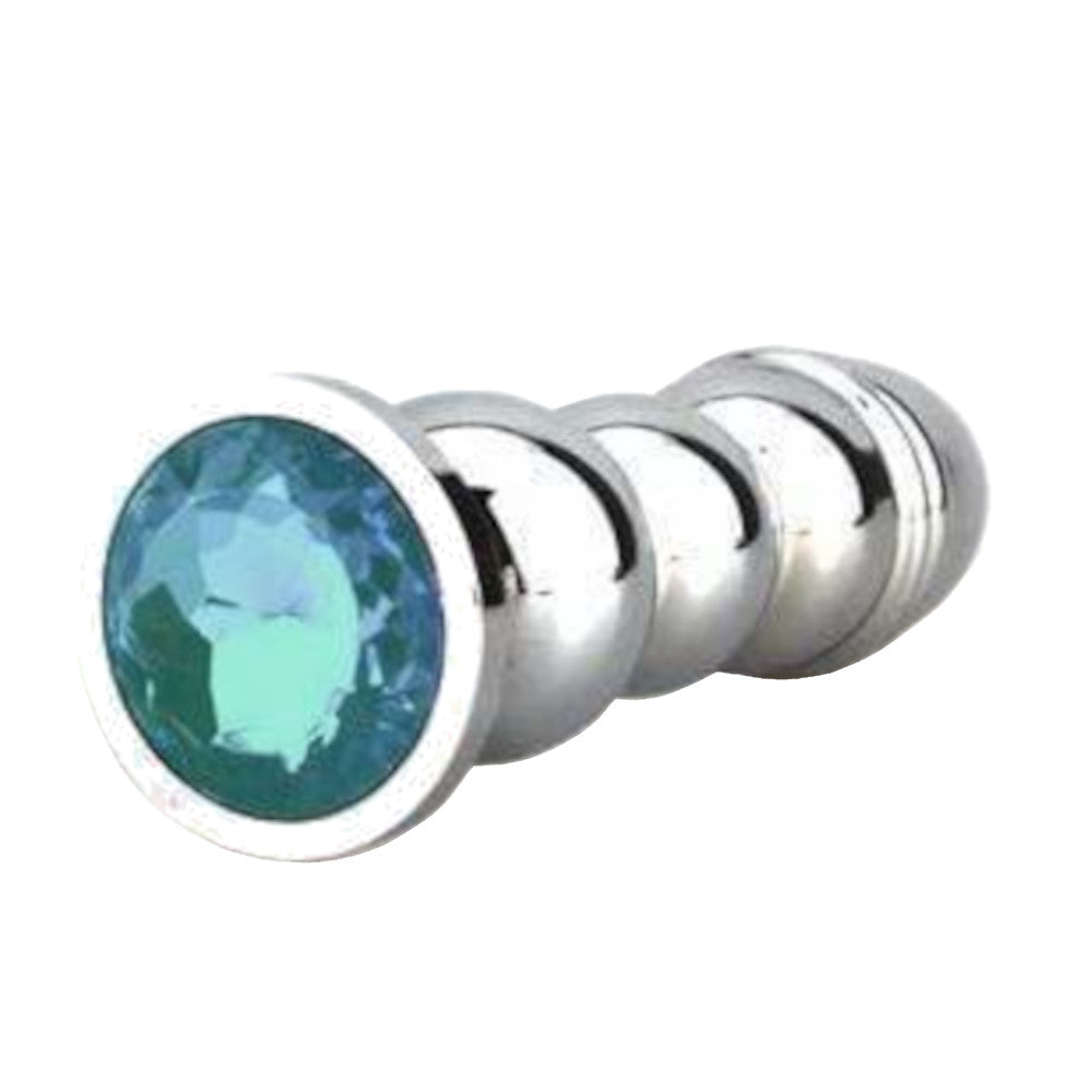 Bullet-shaped Jeweled Stainless Steel Plug, Light Blue