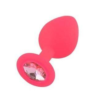 Pink Jeweled Silicone Princess Plug, Small