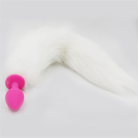 White Fox Tail with Pink Silicone Plug