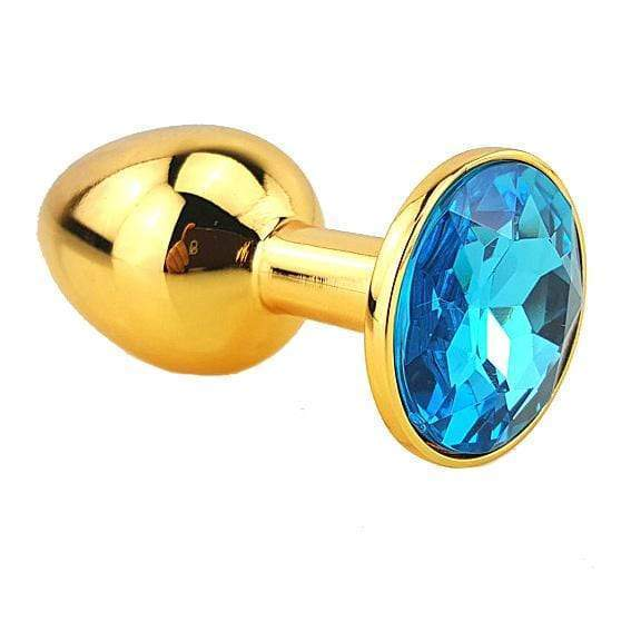 Light Blue Jeweled Gold Plated Plug, Large