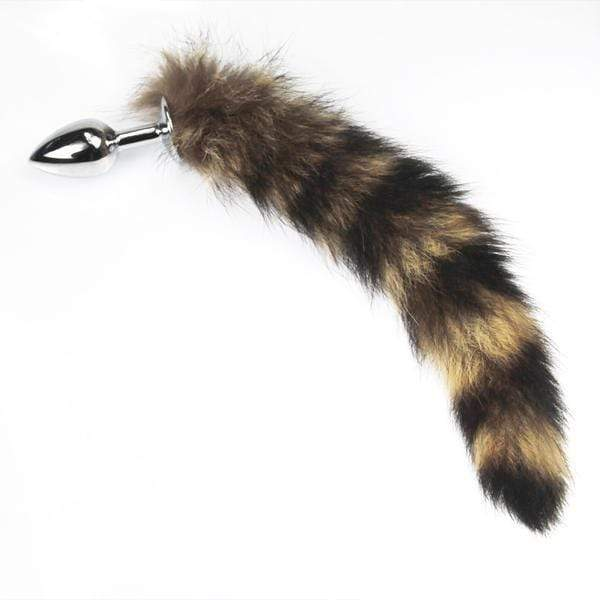 "16"" Brown Cat Tail with Stainless Steel Butt Plug"