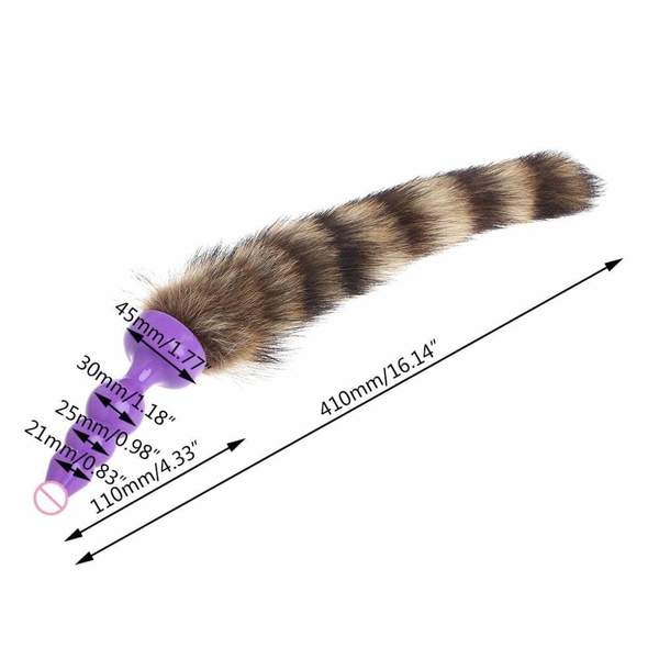 "12"" Raccoon Tail Silicone Plug"