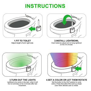 Motion Activated Toilet LED Light - 8 Colors