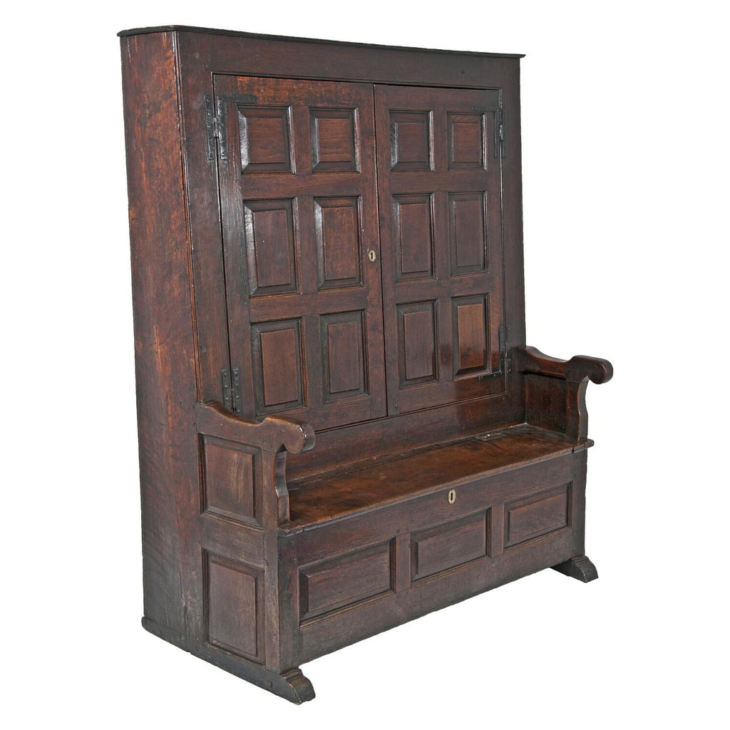 George II Period Oak Bacon Settle, England circa 1720