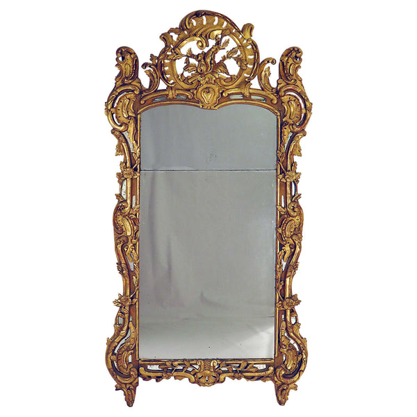 Large French Louis XIV Style Gilt Wood Mirror